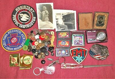 JUNK DRAWER LOT Belt Buckles FIREARM PATCHES Nintendo Gameboy Games OLD PHOTOS