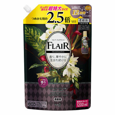 Kao Japan FLAIR FRAGRANCE Laundry Fabric Softener Velvet & Flower 1200ml Refill