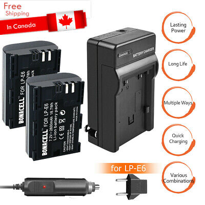 2X 2600mAh LP-E6 Battery + Charger For Canon EOS 5DS 5D Mark II Mark III 6D 7D