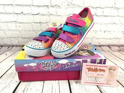 NEW Shoes Skechers TWINKLE TOES RAINBOW MADNESS Sz Girl's USA 3 UK 2 10612L/MLT