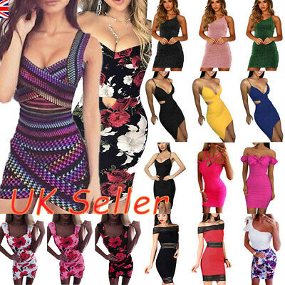 UK Womens Sexy Bodycon Mini Dress Ladie Strappy Party Evening Club Short Dresses