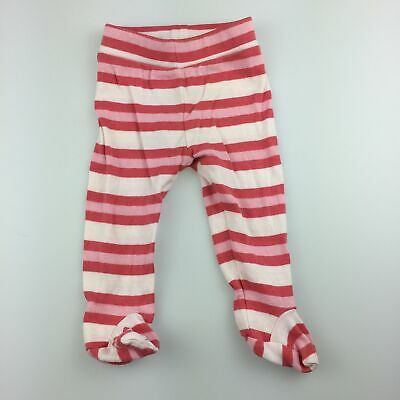 Girls size 000, Seed Baby, pink stripe cotton footed leggings / bottoms, FUC