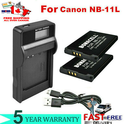1/2X 1000mAh NB-11L Battery / LCD Charger for Canon PowerShot A2300 A2400 IS EG