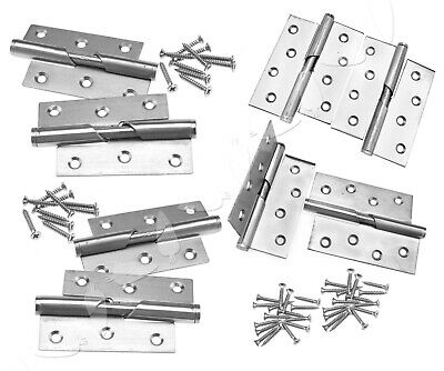 "Pair of Stainless 3""/4"" Rising Butt Left/Right Handed Lift Door Hinge Catch"