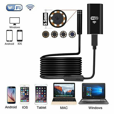 6LED WiFi Endoscope Borescope Inspection HD Camera IP67 For iPhone Android 5.5mm