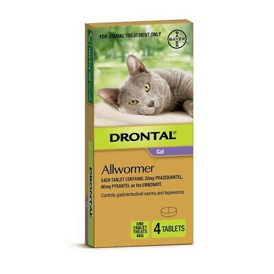 Drontal All-Wormer for Cats & Kittens up to 4kg - 4 Tablets - New Shape