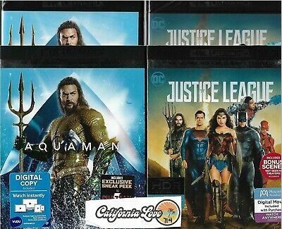 Aquaman + Justice League 4K Ultra Hd + Blu-Ray 2-Movie 4-Disc ✔☆Mint☆✔No Digital