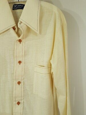 Vintage 70s Cream Woodstock Styled Long Sleeve Button Down Shirt