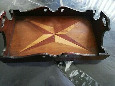 Art Deco Small Timber Marquetry Inlaid Wood Drinks Serving Tray Nice