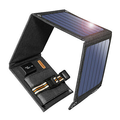 Suaoki 14W Solar Panel Solar Battery Charger Foldable 5V USB Devices Power Bank