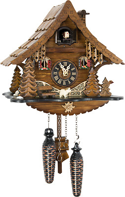 Original German Cuckoo Clock Quartz-movement Chalet-Style 25cm by Engstler
