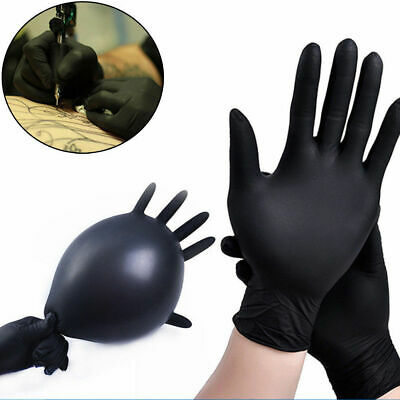 10pcs Black Nitrile Gloves Industrial Latex Free Mechanic Disposable Gloves New