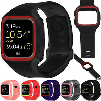 Full Protector Band TPU Silicone  Sports Watch Strap + Frame For Fitbit Versa