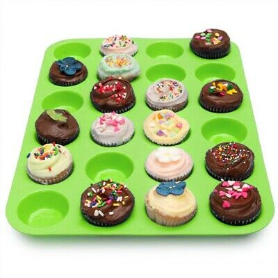 24 Cavity Mini Muffin Silicone Soap Cookies Cupcake Bakeware Pan Tray Mould New