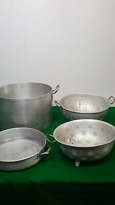 Job lot of Kitchen Catering Equipment 2 Large Sieves, 1 Round Cooking Pot 1 Shal