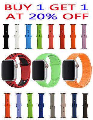 Replacement Sports Silicone Nylon Band for Apple Watch Series 4/3/2/1 38mm 42mm