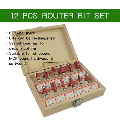 """Woodworking Office Router Bit Set With Wooden 12Pcs 1/4"""" Shank Tipped UK Stock"""