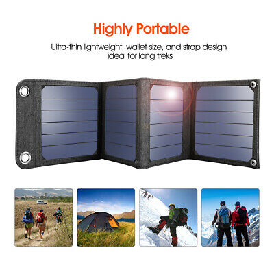 Suaoki 5V 14W Folding Solar Panel Portable Battery Charger For Phone Camp USB