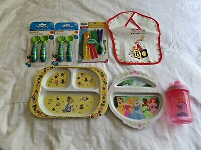 Baby Girl Feeding Items Bulk Bundle - Plates, Cup, Spoons, Bib