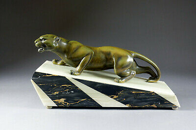 Huge ART DECO 1930 French MARBLE spelter bronze panther statue sculpture
