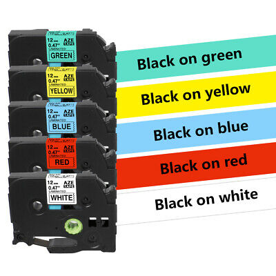 5X TZe-231 431 531 631 731 assorted label tape Compatible Brother p touch 12mm