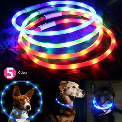 USB Rechargeable LED Pet Dog Collar Glow Flashing Light Up Safety Pet Collars