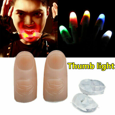 2Pcs party Magic Light Up Glow Thumbs Fingers Trick Appearing Light Close Up UK