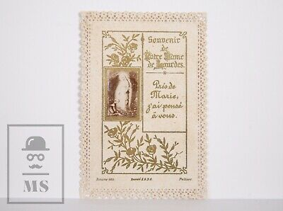 Antique Paper Lace Holy Card - Our Lady of Lourdes - Bonamy Ed.,Poitiers, France