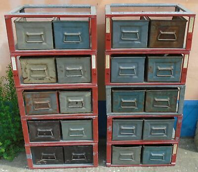 Regal Stapelkisten Stapelbox Metall 70er Industriedesign Schrank Loft vintage !!