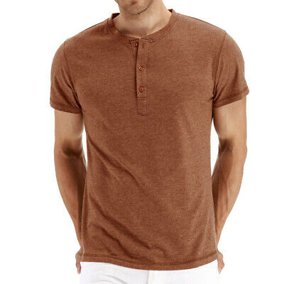 Mens Business Short Sleeve Solid T-Shirt Crew Neck Button Simple Casual Tops Tee
