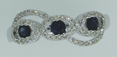 Solid 14K White Gold 0.43CT Blue Sapphire Round Oval Real Natural Diamond Ring
