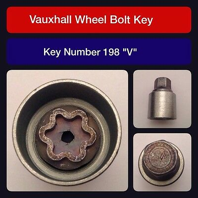 "Genuine Vauxhall Locking Wheel Bolt / Nut Key 198 ""V"""