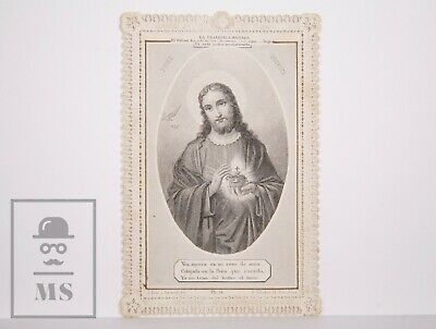 Antique Paper Lace Holy Card - Sacred Heart - J. Pena & Sacanell. Spain
