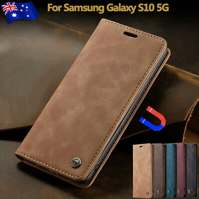 For Samsung Galaxy S10 5G Magnetic Flip Leather Case Wallet Card Cover Stand