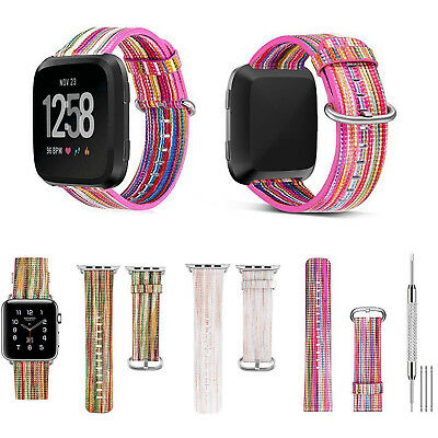Rainbow Mix Strap Wrist Bands + Stainless Metal Clasp for Fitbit Versa /Lite