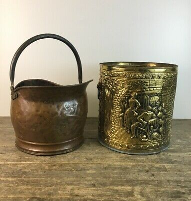 Two Vintage Brass & Copper Coal Scuttle Log Boxes.