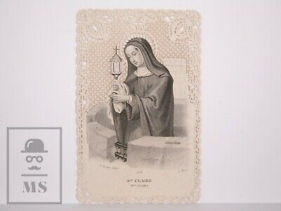 Antique Paper Lace Holy Card - Saint Clare - L. Turgis Ed., France