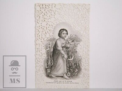 Antique Paper Lace Holy Card - Jesus with Lilies - Spain, c. 1910