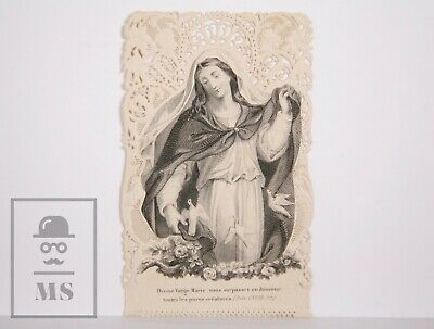 Antique Paper Lace Holy Card - Virgin Mary - Aubry Ed., France