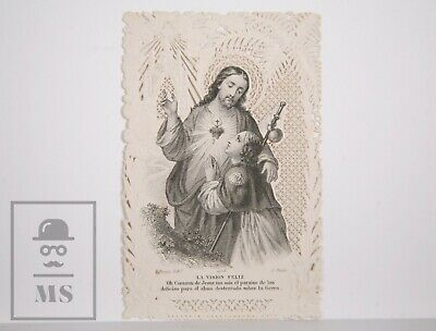 Antique Paper Lace Holy Card - Sacred Heart - L. Turgis Ed., France