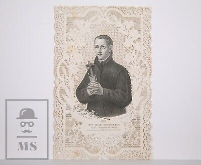 Antique Paper Lace Holy Card - Saint John Berchmans - J. Pena & Sacanell, Spain