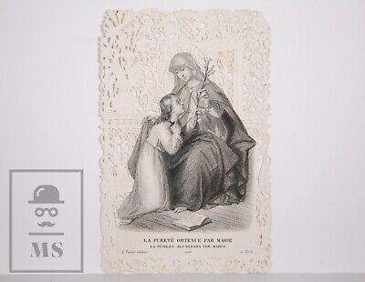 Antique Paper Lace Holy Card - Purity of Mary - L. Turgis Ed., France