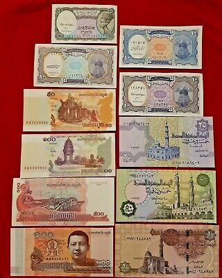 4FROM CAMBODIA 11PAPER MONEY RARE UNC 7  FROM EGYPT