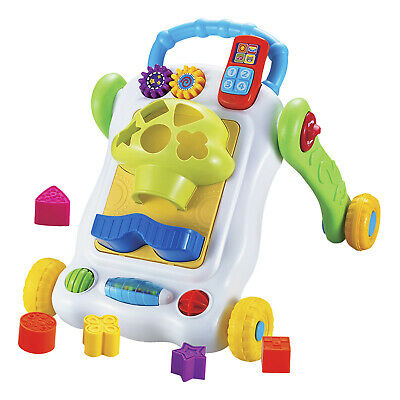 Kids Activity Walker Shape Sorter Baby First Steps Learn Push Along Stand Up Toy