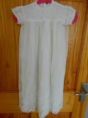 Vintage Tulle Embroidered Christening Dress Ivory/Cream