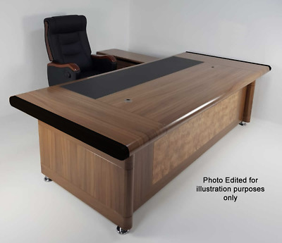 Senato Large Executive Office Desk 3 Piece Set Oak 2.4m