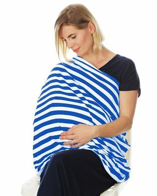 Nursing Cover Infinity Scarf Car Seat Cover/Canopy BLUE/WHITE - NEW - UK STOCK!