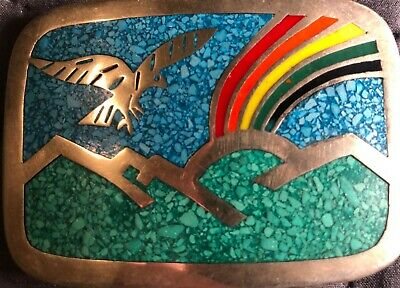 Vintage Belt Buckle, Eagle/Mountains/Rainbow, 1970's