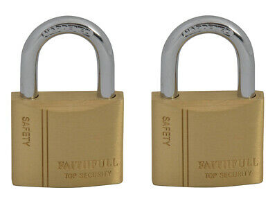 Faithfull TWIN PACK Brass Padlocks 40mm With 2 Keys Security Lock Home Safety
