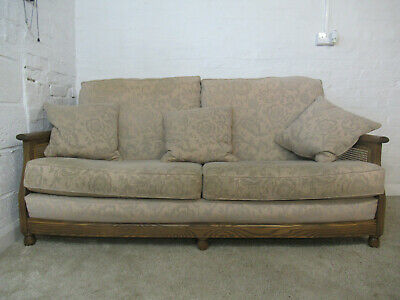 Ercol Bergere Golden Dawn Finish Solid Ash Three Seater Sofa with Floral Fabric